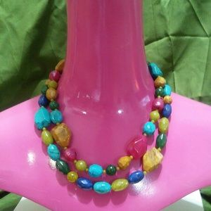 Jewelry - VintageMulti-color Faux Stone Shape Bead Necklace